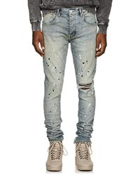 Purple Paint-splatter Skinny Jeans - Blue