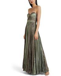 J. Mendel Plissé Lamé Strapless Gown - Green