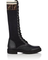 Fendi - Leather & Knit Combat Knee Boots - Lyst