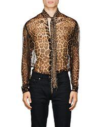 Saint Laurent Leopard-print Chiffon Shirt - Black