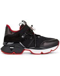 Christian Louboutin Red Runner Neoprene Sneakers - Black
