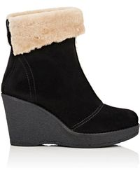 Mr & Mrs Italy - Suede & Shearling Wedge Ankle Boots - Lyst