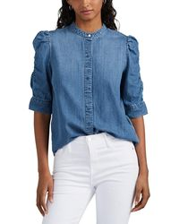 FRAME Puff-sleeve Chambray Blouse - Blue