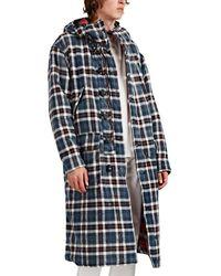 R13 Reversible Oversized Plaid Cotton Flannel Coat - Blue