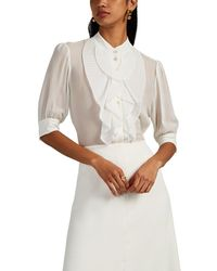 Givenchy Sheer Silk Pleated-bib Blouse - White