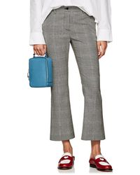 PT01 - Checked Wool Crop Flared Trousers - Lyst
