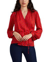 L'Agence Cara maestro-print Silk Wrap Top - Red