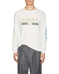 b39c2a96c61 Gucci - Dragon-embroidered Cotton Long-sleeve T-shirt - Lyst