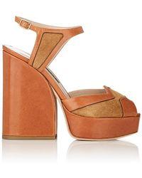 Zac Posen Lila Leather & Suede Platform Sandals - Brown