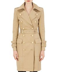 Balmain - Cotton Gabardine Double-breasted Trench Coat - Lyst
