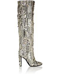 Alberta Ferretti - Sequined Satin Knee Boots - Lyst