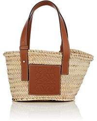 Loewe - Small Leather-trimmed Woven Raffia Tote Bag - Lyst