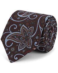 Isaia Floral Wool Necktie - Brown