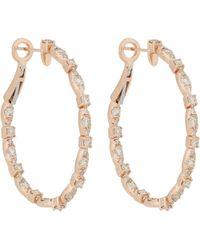 Zoe - Diamond & Rose Gold Hoops - Lyst