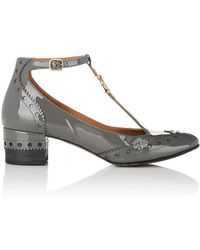 Chloé Perry Patent Leather Mary Jane Court Shoes - Gray