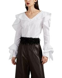 Zac Posen Ruffle-trimmed Button-front Blouse