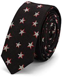 Saint Laurent - Star-pattern Silk Faille Necktie - Lyst