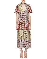 Valentino Spring Garden Print Silk Midi Dress - Multicolour