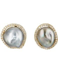Samira 13 Tahitian Pearl & White Diamond Stud Earrings - Metallic