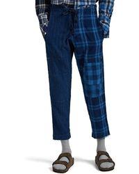Greg Lauren Split Lounge Pants - Blue