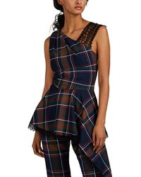 Prabal Gurung Plaid Asymmetric Top - Blue