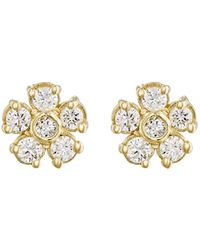 Jennifer Meyer | White Diamond Flower Stud Earrings | Lyst