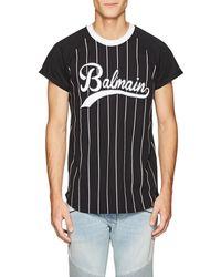 Balmain - Striped Printed T-shirt - Lyst