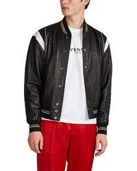 Givenchy Leather Baseball Jacket - Black