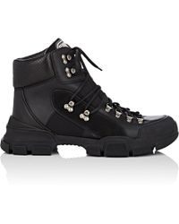 Gucci - Leather & Canvas Trekking Boots - Lyst