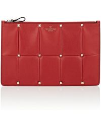 Valentino - Puzzlestud Large Leather Pouch - Lyst