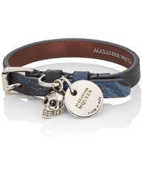 Alexander McQueen - Leather Buckled Wrap Bracelet - Lyst