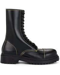 Balenciaga Lace-up Leather Combat Boots - Black