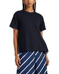 Sacai Striped-oxford-detailed Cotton T-shirt - Blue