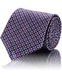 Brioni - Mini-rectangle-crosshatch Silk Satin Necktie - Lyst