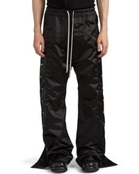 Rick Owens Satin Wide-leg Tear-away Jogger Pants - Black