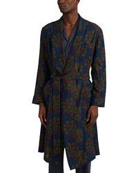 Barneys New York Floral-grape-pattern Wool Robe - Blue