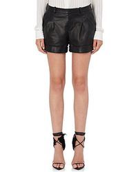 Saint Laurent - Leather Cuffed Shorts - Lyst