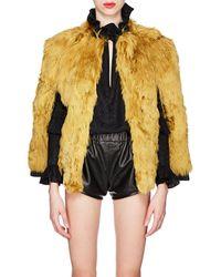 Saint Laurent - Leather-trimmed Alpaca-fur Cape - Lyst