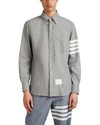 Thom Browne 4-bar Straight-fit Chambray Shirt - Gray