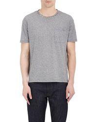 Valentino - Studded-collar Cotton T-shirt - Lyst