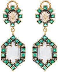 Cathy Waterman - Mixed-gemstone Double-drop Earrings - Lyst