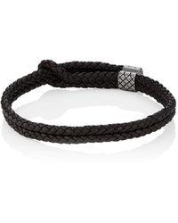 Bottega Veneta - Sterling Silver & Intrecciato Leather Bracelet - Lyst
