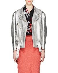 Prada - Metallic Leather Moto Jacket - Lyst