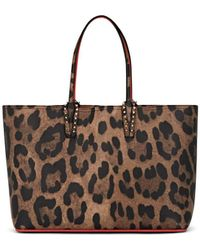Christian Louboutin Cabata Leopard-print Leather Tote Bag - Brown