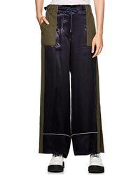 Sacai - Colorblocked Satin & Twill Wide-leg Trousers - Lyst
