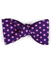 Barneys New York Polka Dot Silk Faille Bow Tie - Purple