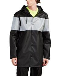 Stutterheim Stockholm Reflective Striped Raincoat - Black