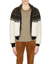Saint Laurent - Fair Isle Wool-blend Sweater Jacket - Lyst