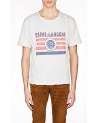 Saint Laurent - Distressed Printed Cotton-jersey T-shirt - Lyst