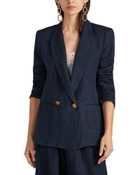 Icons - The Rose Plaid Linen Twill Double-breasted Blazer - Lyst